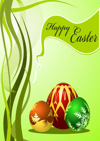 Colorful Easter Eggs on green background Stock Photo - 4837488