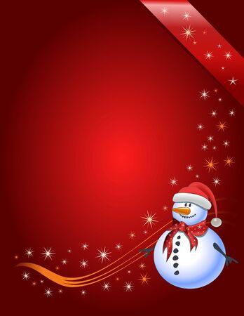 Vector illustration Snowman with Santa Claus hat Illustration