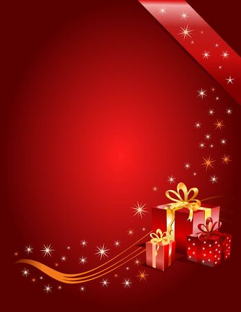 introduce: Christmas gifts on a red festive background, vector illustration