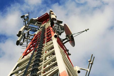 cell phone tower: A communications tower for tv and mobile phone signals