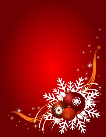 Christmas balls on a red festive background, vector illustration Stock Vector - 6243514