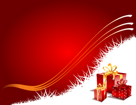 Christmas gifts on a red festive background, vector illustration Vector