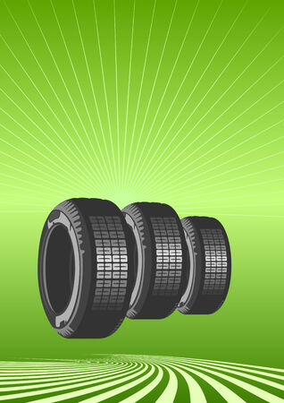 road surface: Brand new tires on a green background