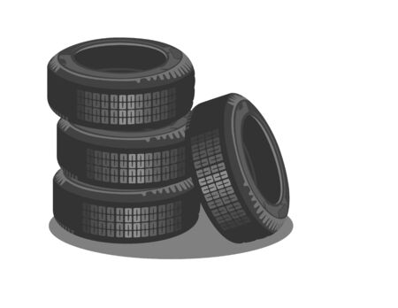 road surface: Brand new tires on a white background Illustration