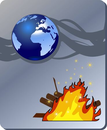wildfire: Danger nature - conflagration, wildfire Illustration