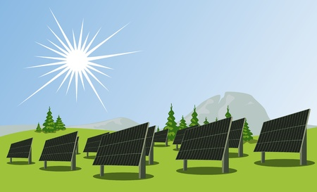 Solar panels, illustration Stock Vector - 8833857