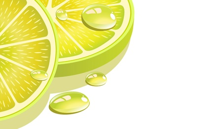 Close-up of a lemon slice with drops. vector illustration Vector