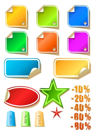 Vector set of color stickers, vector illustration Stock Vector - 8982744