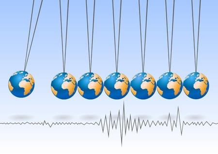 Balancing earth ball, abstract background Vector