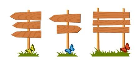 old road: Set of wooden sign, illustration Illustration