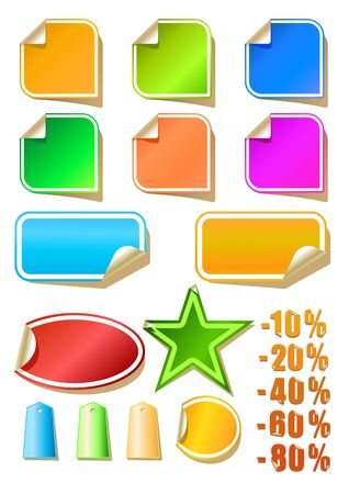 set of color stickers, illustration Stock Vector - 9102677