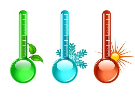 Drie kleur thermometer, illustratie Vector Illustratie