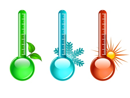 temperature: Three color thermometer , illustration Illustration