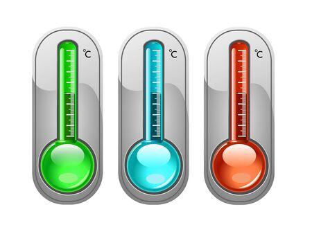 hot temperature: Term�metro de tres colores, ilustraci�n Vectores