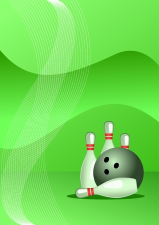 Vector illustration of bowling vector, abstract sport background Illustration