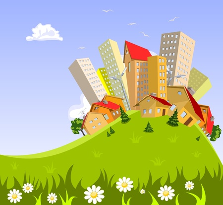 town centre: Colorful abstract vector city . Vector art