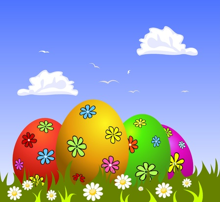 Colorful Easter eggs on grass Stock Vector - 9306705