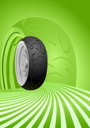 Vector motorcycle tire on a green background Stock Vector - 9303099