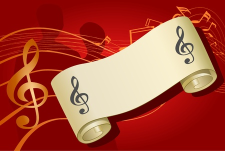 Notes music background, vector illustration Stock Vector - 9303094