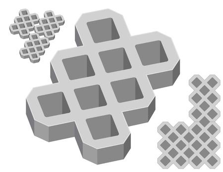 adoquines: Adoquines de hormig�n gris sobre un fondo blanco