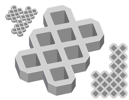 Gray concrete pavers on a white background Illustration