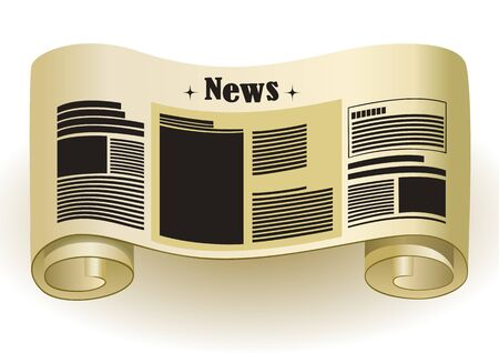 rolled newspaper: NEWS - Vintage paper scroll, vector illustration Illustration