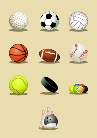 Sport balls icon set, vector illustration Vector