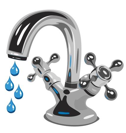 llave de agua: Gotas de agua, ilustraci�n vectorial Vectores