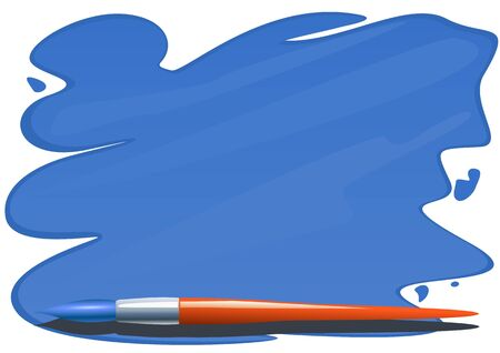 Brush and brushstrokes of blue paint on a white background Vector