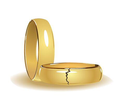 Rotos los anillos de boda Ilustración de vector