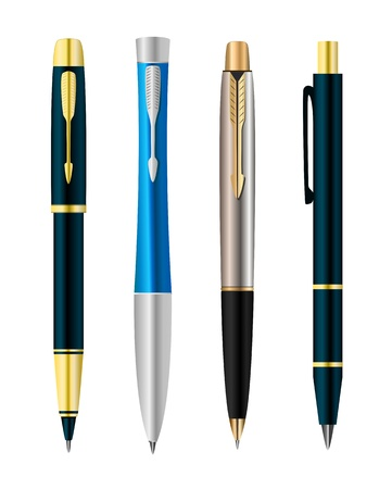 Vector illustration of set colorful pens Stock Vector - 9507877