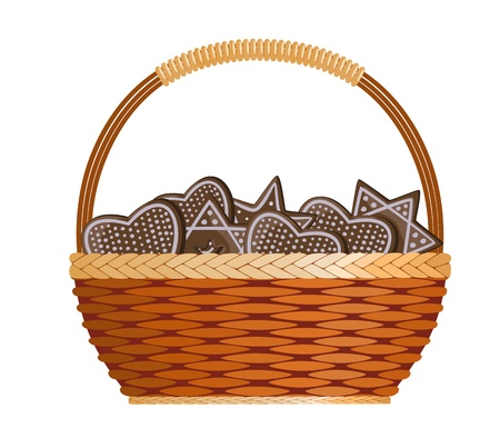 wicker basket: Basket with ginger cakes into white background