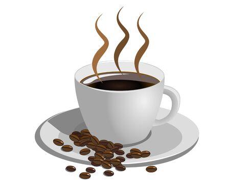 granos de cafe: Taza de café sobre fondo blanco, ilustración vectorial Vectores