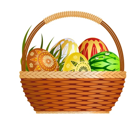 gold egg: Basket with easter eggs