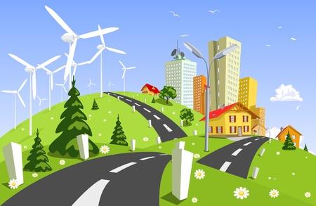 powerplant: Windkrachtcentrale Stock Illustratie
