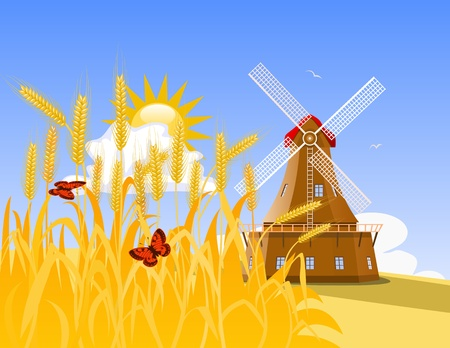 Wheat field Stock Vector - 9828568