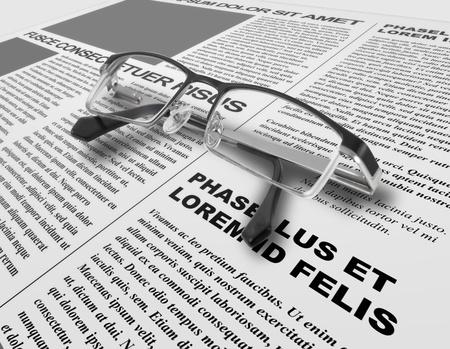 Eye glasses and newspaper Stock Photo - 10022481