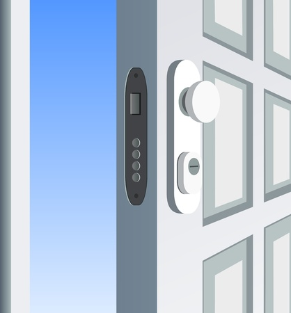 Single white door open, detail Vector