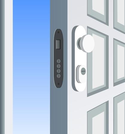 open doors: Single white door open, detail