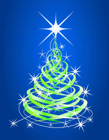 Christmas tree, blue background with stars Stock Vector - 10659709