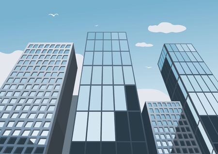 glass office: Skyscrapers on a background of the blue sky