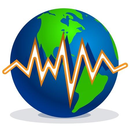 Terra e linee di terremoto Vettoriali