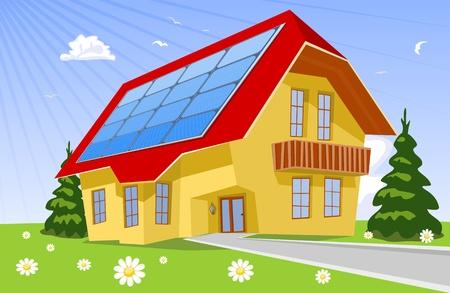 maison solaire: Toit panneaux solaires, illustration
