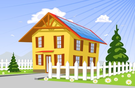 solar house: Roof solar panels, illustration