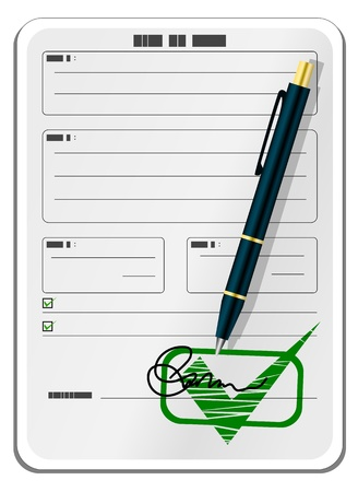 Blank form with signature and pen Stock Vector - 10999378