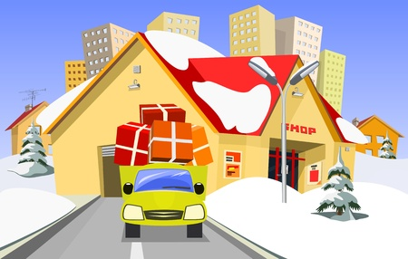 Shop and delivery truck Vector