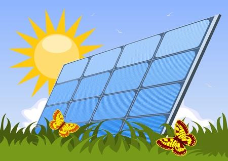 solar equipment: Panel solar Vectores