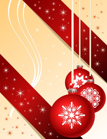 Traditional red Christmas ball ornaments Vector