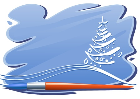Christmas tree with brush and brushstrokes of blue paint Vector