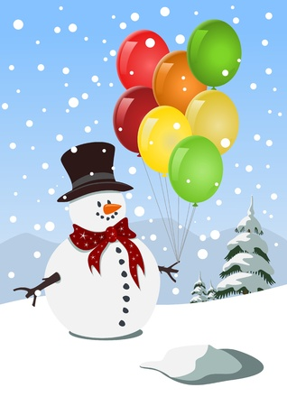 Happy snowman holding colorful balloons Vector